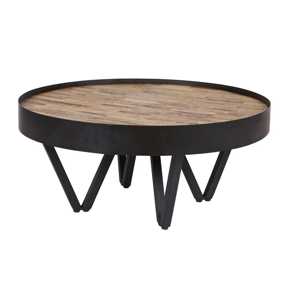 Dax Round Coffee Table With Wooden Inlay By Woood